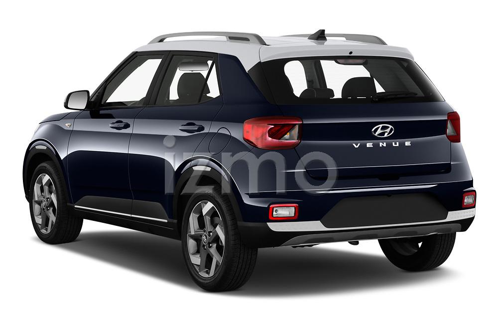 Car pictures of rear three quarter view of 2020 Hyundai Venue Denim 5 Door SUV Angular Rear