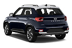 Car pictures of rear three quarter view of 2020 Hyundai Venue Denim 5 Door SUV Angular Rear
