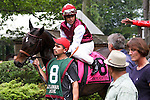 Skylighter, Mike Smith. chats with Micheal Matz  before the Obeah Stakes at Delaware Park in New Stanton, Delaware 06.20.09