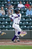 Luis Alexander Basabe (16) of the Winston-Salem Dash follows through on his swing against the Myrtle Beach Pelicans at BB&T Ballpark on May 11, 2017 in Winston-Salem, North Carolina.  The Pelicans defeated the Dash 9-7.  (Brian Westerholt/Four Seam Images)