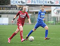 20160206 - Zulte , BELGIUM : Zulte Waregem's Jolien Martens (L) and Genk's Lore Vanschoenwinkel (R) pictured during the soccer match between the women teams of Zulte Waregem and Ladies Genk , in the quartel final matchday of the Belgian CUP - Beker van Belgie voor Vrouwen competition on Saturday 6th February 2016 in Zulte .  PHOTO SPORTPIX.BE DIRK VUYLSTEKE