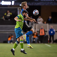 SAN JOSE, CA - MAY 12: Jackson Yueill #14 of the San Jose Earthquakes heads the ball during a game between San Jose Earthquakes and Seattle Sounders FC at PayPal Park on May 12, 2021 in San Jose, California.