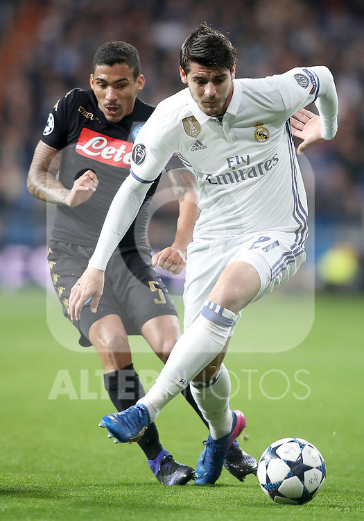 Real Madrid's Alvaro Morata (r) and SSC Napoli's Allan during Champions League 2016/2017 Round of 16 1st leg match. February 15,2017. (ALTERPHOTOS/Acero)