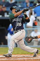 Lexington Legends Roberto Pena #10 swings at a pitch during a game against  the Asheville Tourists at McCormick Field in Asheville,  North Carolina;  April 15, 2011.  Asheville defeated Lexington 2-1.  Photo By Tony Farlow/Four Seam Images