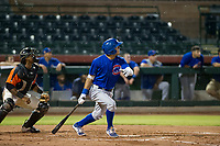 AZL Cubs center fielder Jose Gutierrez (91) follows through on his swing in the rain against the AZL Giants on September 7, 2017 at Scottsdale Stadium in Scottsdale, Arizona. AZL Cubs defeated the AZL Giants 13-3 to win the Arizona League Championship Series two games to one. (Zachary Lucy/Four Seam Images)