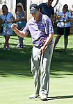 August 5, 2012:  J.J. Henry from Ft. Worth, TX reacts after sinking a long putt on the 5th green during the final round of the 2012 Reno-Tahoe Open Golf Tournament at Montreux Golf & Country Club in Reno, Nevada.
