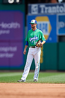 Hartford Yard Goats second baseman Brandon Bednar (39) during a game against the Trenton Thunder on August 26, 2018 at Dunkin' Donuts Park in Hartford, Connecticut.  Trenton defeated Hartford 8-3.  (Mike Janes/Four Seam Images)