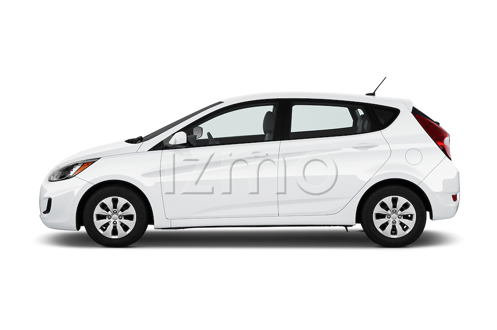 Car Driver side profile view of a 2017 Hyundai Accent SE 6-Speed Automatic 5 Door Hatchback Side View