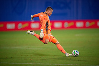 LAKE BUENA VISTA, FL - JULY 16: David Jensen #1 of the New York Red Bulls kicks the ball during a game between New York Red Bulls and Columbus Crew at Wide World of Sports on July 16, 2020 in Lake Buena Vista, Florida.