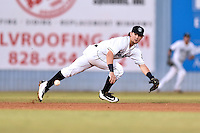 Asheville Tourists shortstop Brendan Rodgers (1) reacts to the ball during a game against the Rome Braves at McCormick Field on August 22, 2016 in Asheville, North Carolina. The Braves defeated the Tourists 10-3. (Tony Farlow/Four Seam Images)