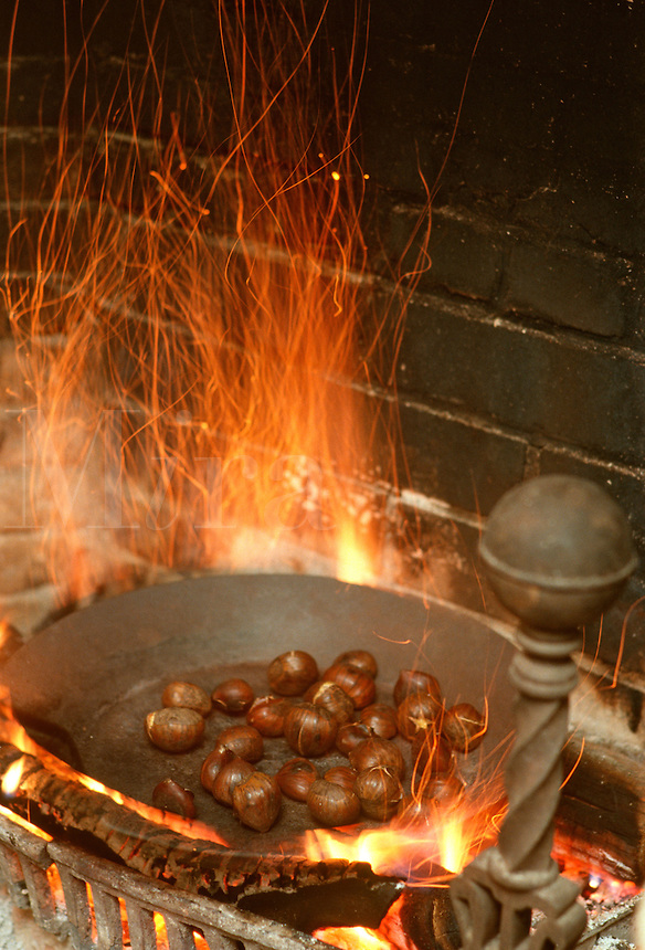 Roasting chestnuts on an open fire at the Weathersfield Country Inn in Weathersfield, VT.