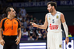 Real Madrid´s player Rudy Fernandez talking with the referee during the 4th match of the Turkish Airlines Euroleague at Barclaycard Center in Madrid, Spain, November 05, 2015. <br /> (ALTERPHOTOS/BorjaB.Hojas)