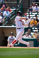 Rochester Red Wings Brent Rooker (19) at bat during an International League game against the Scranton/Wilkes-Barre RailRiders on June 25, 2019 at Frontier Field in Rochester, New York.  Rochester defeated Scranton 10-9.  (Mike Janes/Four Seam Images)