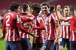 Atletico de Madrid's Jose Maria Gimenez, Joao Felix and Stefan Savic celebrate goal during La Liga match. November 7,2020. (ALTERPHOTOS/Acero)
