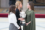 Queen Letizia of Spain gives award to Maialen Chourraut and Lidia Valentin during National Sport Awards 2016 at El Pardo Palace in Madrid , Spain. February 19, 2018. (ALTERPHOTOS/Borja B.Hojas)