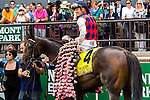 ELMONT, NY - JUNE 11: Julien R. Leparoux, aboard Carlina Mia, poses for a photo in the winners circle the Acorn Stakes on Belmont Stakes Day on June 11, 2016 in Elmont, New York. (Photo by Sue Kawczynski/Eclipse Sportswire/Getty Images)