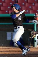 Tony Thompson #28 of the Stockton Ports bats against the High Desert Mavericks at Stater Bros. Stadium on May 27, 2012 in Adelanto,California. High Desert defeated Stockton 6-5.(Larry Goren/Four Seam Images)