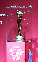 BOGOTA -  COLOMBIA - 02-03-2015: El trofeo de la Copa Mundial Femenina de la FIFA Canada 2015 es presentado en la sede Deportiva de la Federacion Colombiana de Futbol como parte de la gira mundial del Trofeo del torneo.  / The trophy of the Women's World Cup Canada 2015 is presented in Sports headquarters of the Colombian Football Federation as part of the world tour Trophy tournament. / Photo: VizzorImage / Luis Ramirez / Staff.