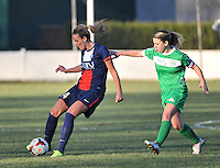 20131211 - HENIN-BEAUMONT , France :  PSG's Kheira Hamraoui (left) pictured with Henin's Pauline Cousin (right) during the female soccer match between FC Henin Beaumont and Paris Saint-Germain Feminin , of the Ninth matchday in the French First Female Division . Wednesday 11 December 2013. PHOTO DAVID CATRY