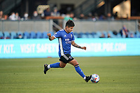 SAN JOSE, CA - MAY 22: Eduardo Lopez #9 of the San Jose Earthquakes during a game between Sporting Kansas City and San Jose Earthquakes at PayPal Park on May 22, 2021 in San Jose, California.
