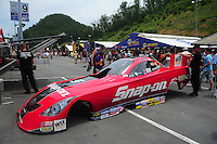Jun. 17, 2011; Bristol, TN, USA: The body of the car driven by NHRA funny car driver Cruz Pedregon during qualifying for the Thunder Valley Nationals at Bristol Dragway. Mandatory Credit: Mark J. Rebilas-