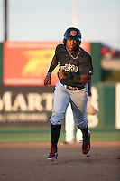Domingo Leyba (2) of the Visalia Rawhide runs the bases during a game against the Lancaster JetHawks at The Hanger on July 6, 2016 in Lancaster, California. Lancaster defeated Visalia, 10-7. (Larry Goren/Four Seam Images)