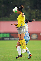 Estelle Johnson (24) of the Philadelphia Independence  heads the ball over Rosana (11) of Sky Blue FC. Sky Blue FC defeated the Philadelphia Independence 1-0 during a Women's Professional Soccer (WPS) match at Yurcak Field in Piscataway, NJ, on August 22, 2010.