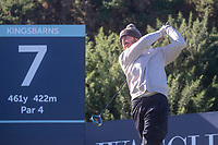 1st October 2021; Kingsbarns Golf Links, Fife, Scotland; European Tour, Alfred Dunhill Links Championship, Second round; Tommy Fleetwood of England tees off on the seventh hole at Kingsbarns Golf Links
