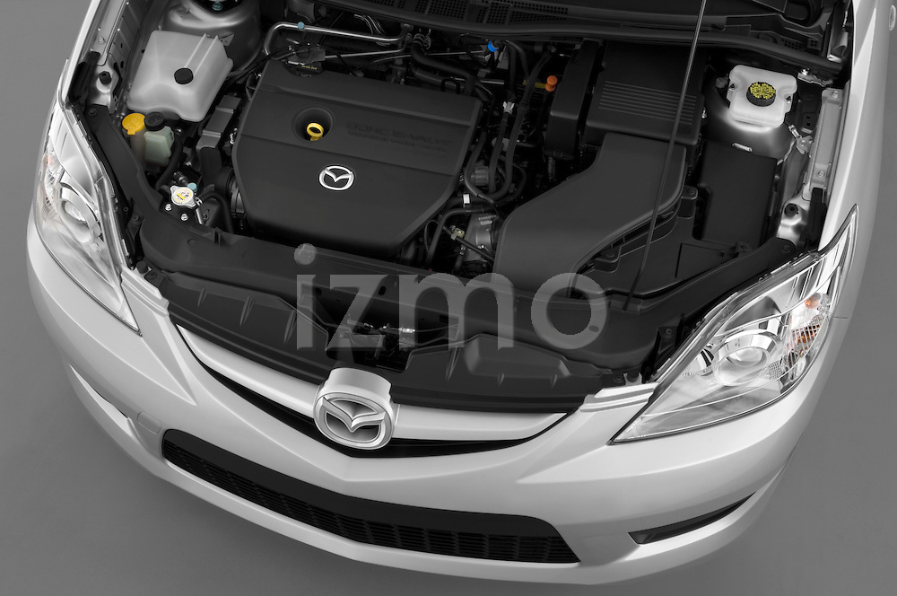 High angle engine view of a 2008 Mazda 5