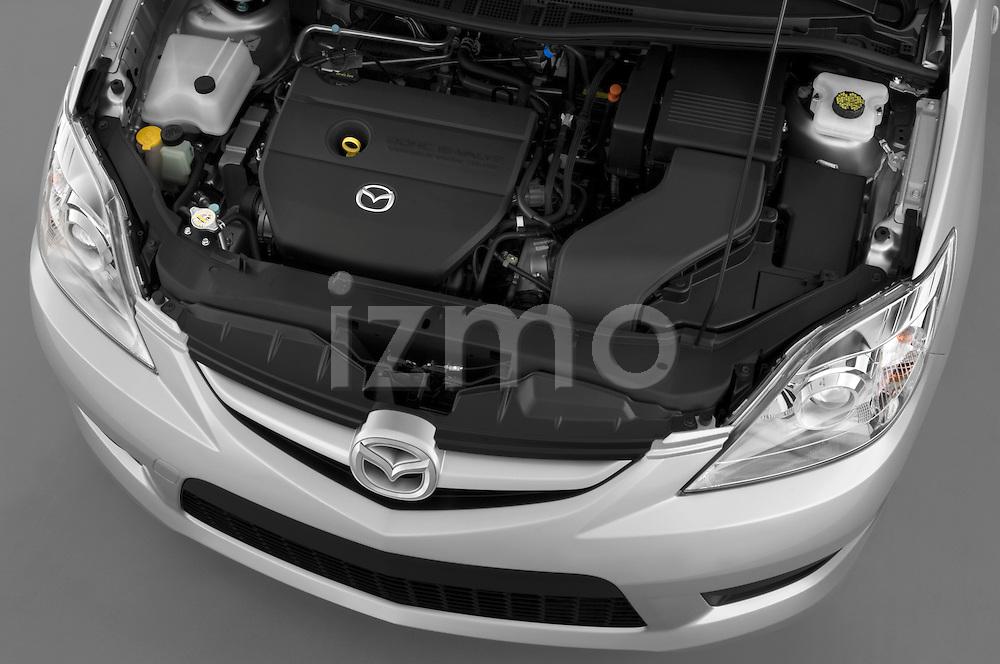 High angle engine view of a 2008 Mazda 5