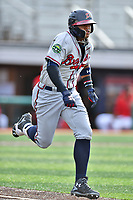 Danville Braves shortstop Kevin Maitan (26) runs to first base during a game against the  Johnson City Cardinals at TVA Credit Union Ballpark on July 23, 2017 in Johnson City, Tennessee. The Cardinals defeated the Braves 8-5. (Tony Farlow/Four Seam Images)
