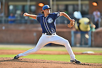 Asheville Tourists starting pitcher Alex Balog #34 delivers a pitch during a game against the Kannapolis Intimidators at McCormick Field on June 7, 2014 in Asheville, North Carolina. The Tourists defeated the Intimidators 7-5. (Tony Farlow/Four Seam Images)