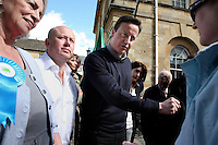 Conservative Party leader David Cameron at an election campaign stop in Woodstock, Oxfordshire.