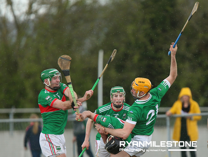 Séamus Callanan of Drom Inch in action against Eoghan Ryan, Noel McGrath, and Brian McGrath of Loughmore/Castleiney during the Centenary Agri Mid Senior Hurling Championship Quarter Final between Loughmore/Castleiney and Drom Inch on Saturday 28th April 2018 at Templetuohy, Co Tipperary, Photo By Michael P Ryan