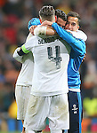 Real Madrid's Sergio Ramos, Cristiano Ronaldo and Lucas Vazquez celebrate the victory in the Champions League 2015/2016 Quarter-finals 2nd leg match. April 12,2016. (ALTERPHOTOS/Acero)