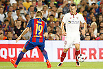 FC Barcelona's Lucas Digne (l) and Sevilla FC's Jevhen Konoplyanka during Supercup of Spain 2nd match.August 17,2016. (ALTERPHOTOS/Acero)