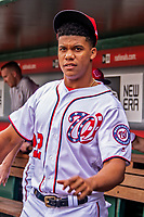 22 September 2018: Washington Nationals rookie outfielder Juan Soto stands in the dugout prior to a game against the New York Mets at Nationals Park in Washington, DC. The Nationals shut out the Mets 6-0 in the 3rd game of their 4-game series. Mandatory Credit: Ed Wolfstein Photo *** RAW (NEF) Image File Available ***