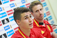 Spain's Kepa Arrizabalaga (l) and Nacho Monreal in press conference after training session. June 5,2017.(ALTERPHOTOS/Acero)