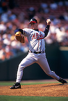 SAN FRANCISCO, CA - Tom Glavine of the Atlanta Braves in action during a game against the San Francisco Giants at Candlestick Park in San Francisco, California in 1999.  Photo by Brad Mangin