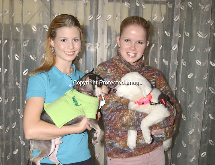 ..Stephanie Gatschet  and her dog Chi Chi and Crystal Hunt ..with Sasha..at Animal Haven's 36th Annual Going Home Luncheon ..on October 19, 2003 at the Sheraton LaGuardia East Hotel in Flushing New York. Photo by Robin Platzer, Twin Images