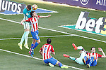Atletico de Madrid's Filipe Luis (2-l), Diego Godin (c) and Sime Vrsaljko (r) and FC Barcelona's Gerard Pique (l) and Samuel Umtiti  during La Liga match. February 26,2017. (ALTERPHOTOS/Acero)