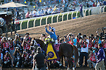 ARCADIA, CA - NOV 04: Mike Smith, aboard Tamarkuz #8, celebrates after winning the Breeders' Cup Las Vegas Dirt Mile at Santa Anita Park on November 4, 2016 in Arcadia, California. (Photo by Eric Patterson/Eclipse Sportswire/Breeders Cup)