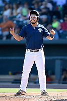 First baseman Brandon Brosher (25) of the Columbia Fireflies in a game against the Augusta GreenJackets on Sunday, July 30, 2017, at Spirit Communications Park in Columbia, South Carolina. Augusta won, 6-0. (Tom Priddy/Four Seam Images)