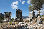 Turkey, Province Mugla, near Dodurga: Lycian sarcophagi of ancient Sidyma | Tuerkei, Provinz Mugla, bei Dodurga: Sidyma, ehemalige antike Stadt, Lykische Sarkophage
