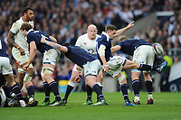 Henry Pyrgos of Scotland sends up a box kick during the RBS 6 Nations match between England and Scotland at Twickenham Stadium on Saturday 11th March 2017 (Photo by Rob Munro/Stewart Communications)