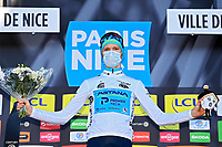 14th March 2021, Levens, France;  VLASOV Aleksandr (RUS) of Astana - Premier Tech on podium after stage 8 of the 79th edition of the 2021 Paris - Nice cycling race, a stage of 92,7 kms between Plan-du-Var and Levens on March 14, 2021 in Levens, France