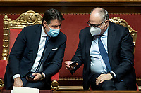 The Italian Premier Giuseppe Conte and the Minister of Economy Roberto Gualtieri during the information at the Senate about the government crisis.<br /> Rome(Italy), January 19th 2021<br /> Photo Pool Roberto Monaldo/Insidefoto