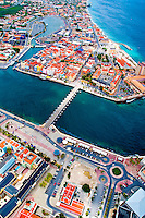 2 August 2009: An aerial view of the Caribbean town of Willemstad, on the island of Curacao, in the Netherlands Antilles. Curaçao is known for tourism, scuba diving, and technologically advanced business districts. Mandatory Photo Credit: Ed Wolfstein Photo