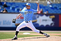 Wilmington Blue Rocks pitcher Daniel Stumpf (15) delivers a pitch during a game against the Myrtle Beach Pelicans on April 27, 2014 at Frawley Stadium in Wilmington, Delaware.  Myrtle Beach defeated Wilmington 5-2.  (Mike Janes/Four Seam Images)