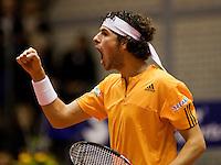 13-12-09, Rotterdam, Tennis, REAAL Tennis Masters 2009,  Robin Haase schreeuw het uit nadat hij Antal van der Duim in de finale heeft verslagen